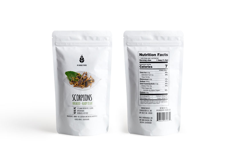 edible scorpions in bag